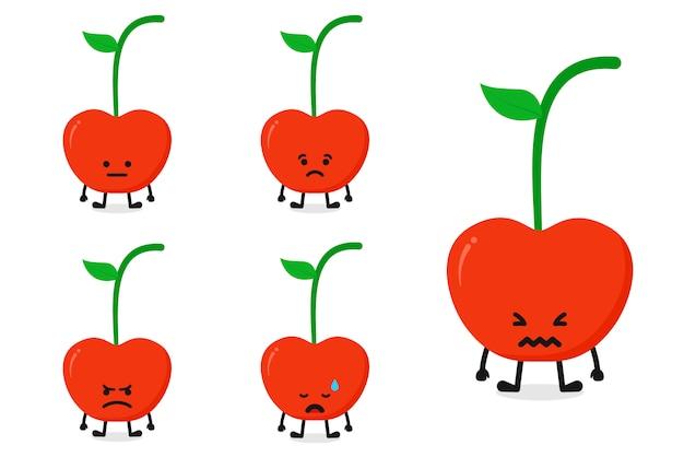 Owocowej wiśni charakteru wektorowy ilustracyjny ustawiający dla smutnego wyrażenia
