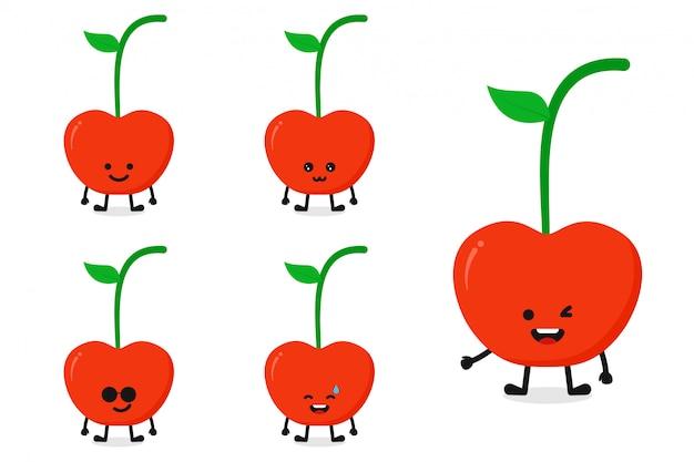 Owocowej wiśni charakteru wektorowy ilustracyjny ustawiający dla szczęśliwego wyrażenia