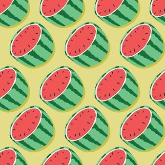 Owocowy bezszwowy wzór, arbuz połówki z cieniem na mennicy zieleni tle. egzotyczne owoce tropikalne.