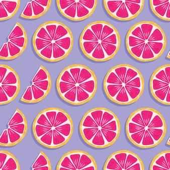 Owocowy bezszwowy wzór, grapefruitowi plasterki z cieniem na purpurowym tle. egzotyczne owoce tropikalne.