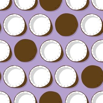 Owocowy bezszwowy wzór, kokos z cieniem na purpurowym tle. egzotyczne owoce tropikalne.