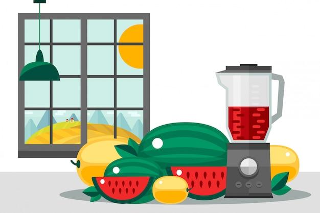 Owocowy ustawiający na kuchennym stole, domowego pola żniwa ilustracja. soczysty melon i arbuz, przygotowując zdrowy koktajl