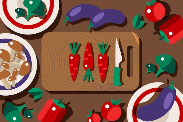 Owocowy ustawiający na tnącej desce, gotuje proces ilustrację. zdrowe warzywa na stole w kuchni, marchewki, brokuły, grzyby