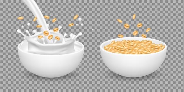 Owsianka. mleko, musli, zdrowa żywność ekologiczna pszenicy. realistyczne wektor białe miski z płatkami owsianymi. płatki śniadaniowe z mlekiem, naturalna owsianka ilustracja płatki owsiane