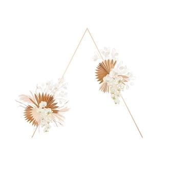 Ozdoba kwiatowa rama wektor. suszony lunaria, orchidea, wieniec ślubny z trawy pampasowej. egzotyczne suche kwiaty, liście palmowe boho zaproszenia. szablon akwarela, nowoczesny plakat liści, modny design