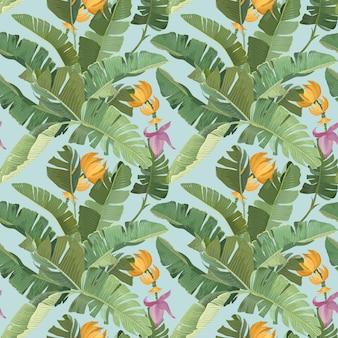 Ozdoba lasu deszczowego z zielonymi tropikalnymi liśćmi palmowymi bananowymi, owocami, kwiatami i gałęziami. papier, projektowanie tkanin, wzór, botaniczny nadruk zwrotnikowy na niebieskim tle. ilustracja wektorowa