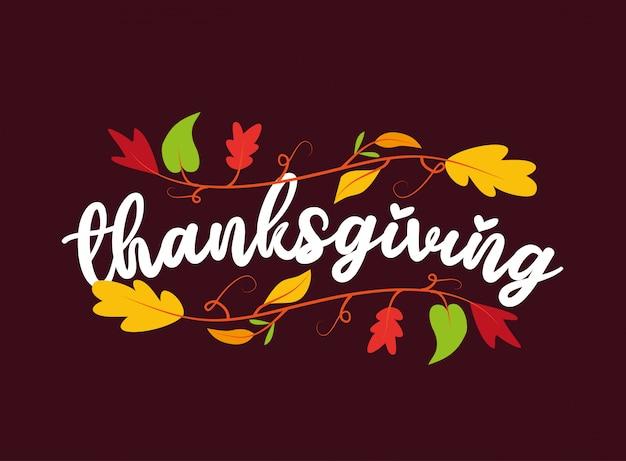 Ozdoba na święto dziękczynienia z jesiennych liści oddziałów dzięki karcie