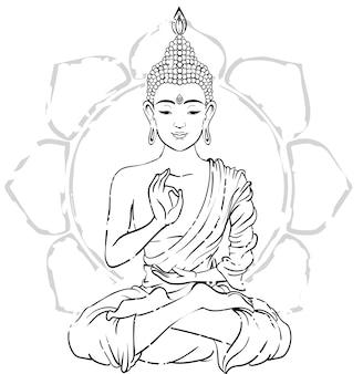 Ozdoba piękna karta z buddą. wyciągnąć rękę element geometryczny.