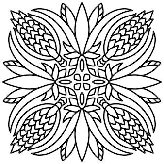 Ozdoba płytki mandali. książka do kolorowania.