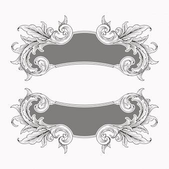 Ozdoba przewiń starodawny barokowy ramki