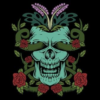 Ozdoba róży czaszki