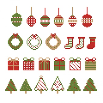 Ozdoba świąteczna piksel. zestaw zimowy