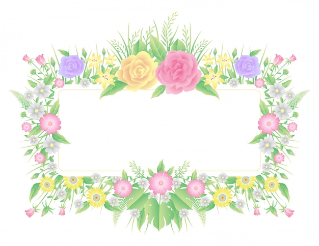Ozdoba w kwiatowe ramki, kolorowa róża, z liśćmi,
