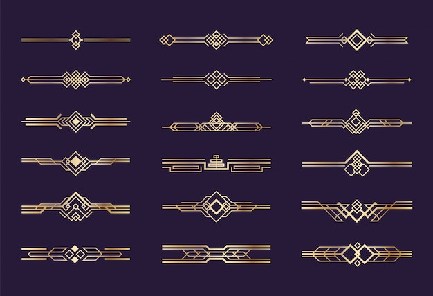 Ozdoba w stylu art deco. vintage złote obramowania i przekładki z 1920 roku, elementy graficzne w nagłówku retro, zestaw dekoracji geometrycznej w stylu nouveau