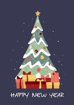 Ozdobiona choinka pokryta śniegiem i pudełkami na prezenty. wesołych świąt i szczęśliwego nowego roku. ilustracja wektorowa w modnym stylu płaski.