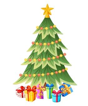 Ozdobiona choinka z pudełkami na prezenty, gwiazdą, lampkami, bombkami dekoracyjnymi. wesołych świąt i szczęśliwego nowego roku. zielony świerk, wiecznie zielone drzewo. ilustracja na białym tle