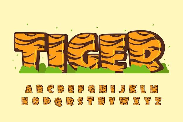 Ozdobna czcionka tygrysa i alfabet