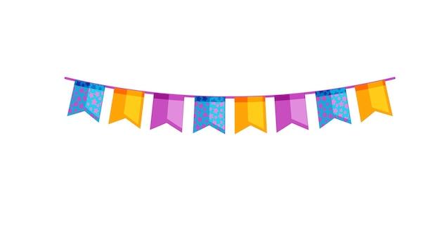 Ozdobna girlanda z flagami na imprezę na białym tle