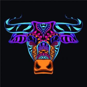 Ozdobna głowa krowy z neonowego koloru