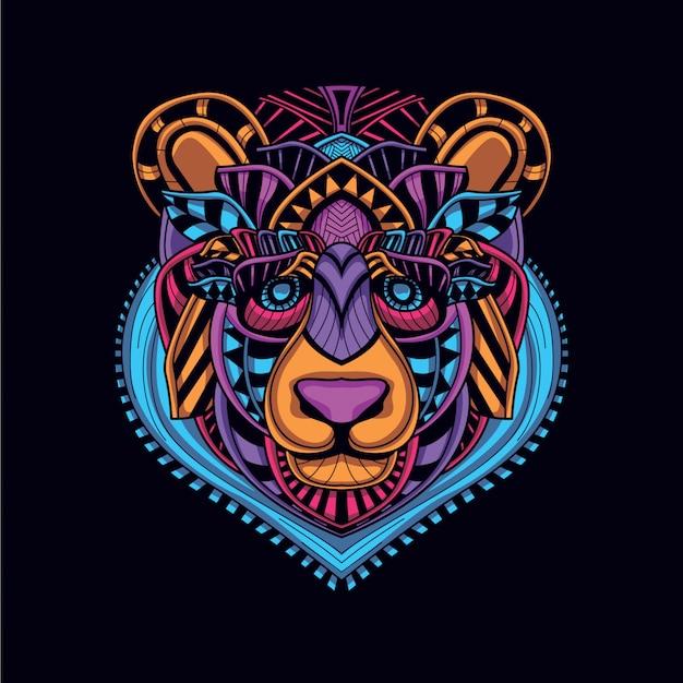 Ozdobna głowa niedźwiedzia w blasku neonowego koloru
