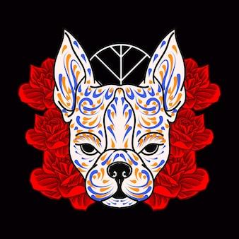 Ozdobna głowa psa dzień zmarłych meksyk ilustracja