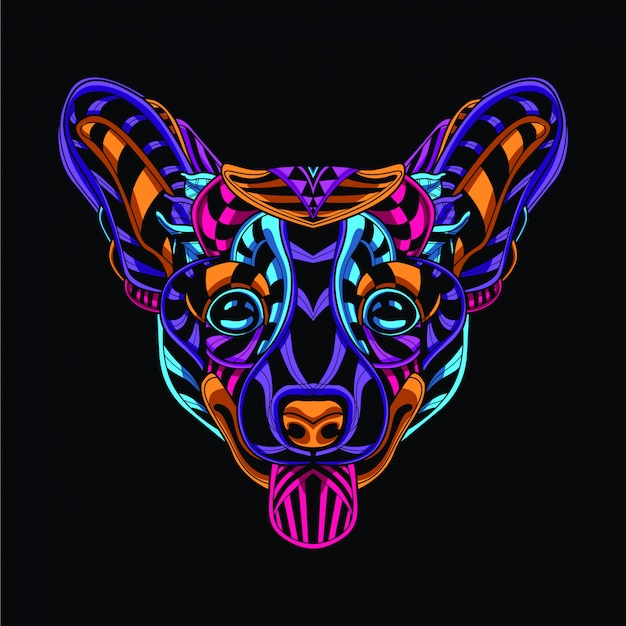 Ozdobna głowa psa z neonowego koloru