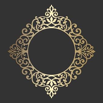 Ozdobna grafika liniowa elegancka do elementów w stylu wschodnim. ozdobna rama koła.