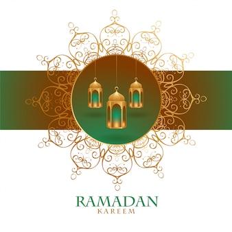 Ozdobna karta festiwalu ramadan kareem w stylu mandali