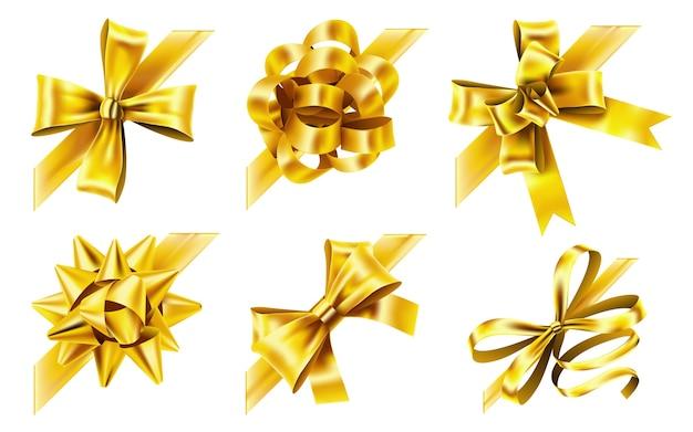 Ozdobna kokardka narożna. złota wstążka przysługi, żółte kokardki i luksusowe złote wstążki.