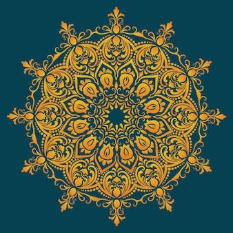 Ozdobna koronka okrągła z elementami adamaszku i arabeski