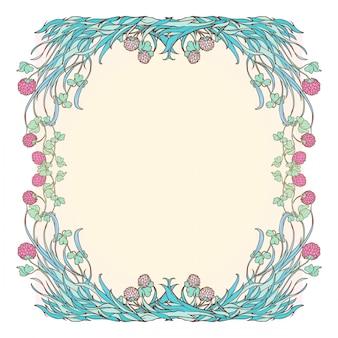 Ozdobna kwadratowa rama z różową koniczyną w rozkwicie. świąteczny projekt dnia świętego patryka.