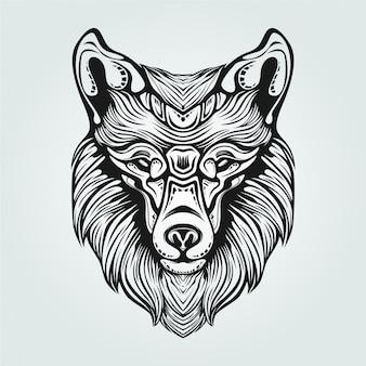Ozdobna linia rysunkowa twarzy lisa w czerni i bieli