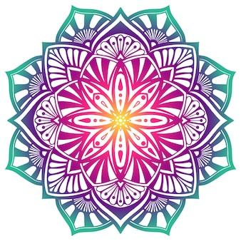 Ozdobna mandala w fioletowych kolorach zielonym.