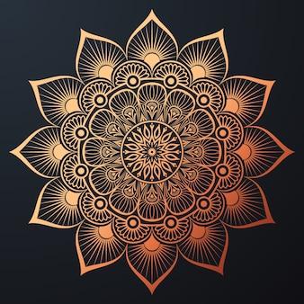 Ozdobna mandala ze złotym kolorem arabeska kwiatowy islamski styl wschodu
