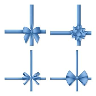 Ozdobna niebieska kokardka z tasiemkami. opakowanie na prezent i dekoracja świąteczna. ilustracja