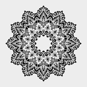 Ozdobna okrągła koronka z elementami adamaszku i arabeski