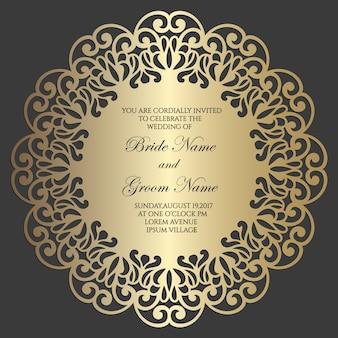 Ozdobna rama koła. koronkowa okrągła obwódka. element dekoracyjny w stylu mandali. serwetka papierowa z koronką, dekoracje ślubne, element projektu, okładka tablicy ciasta. zaproszenie, wygląd menu.