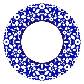 Ozdobna rama królewska okrągły ornament kwiatowy obramowanie w stylu wiktoriańskim niebieska i biała mandala pot