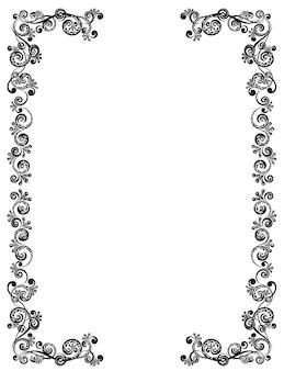 Ozdobna rama z kwiatowym wzorem. szablon dla kart okolicznościowych, nagród i zaproszeń ślubnych.