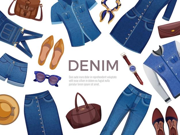 Ozdobna rama z męskiej i żeńskiej odzieży jeansowej z akcesoriami na białym tle