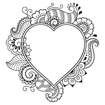 Ozdobna ramka z kwiatowym wzorem w fornie serca w stylu mehndi