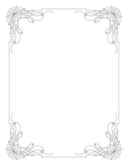 Ozdobna ramka z zawijanymi narożnikami. obramowanie elegancji. prosty kontur na ślub, pozdrowienie projekt banera. ilustracja na białym tle wektor.