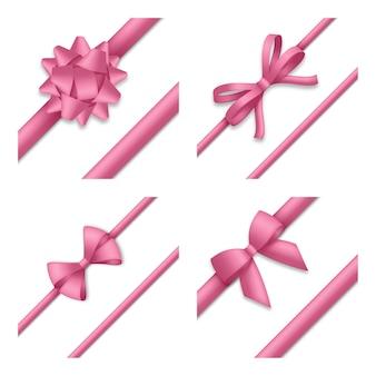 Ozdobna różowa kokardka z tasiemkami. opakowanie na prezent i dekoracja świąteczna. ilustracja