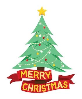 Ozdobna sosna i wstążkowa flaga z napisami wesołych świąt na elementy świąteczne.