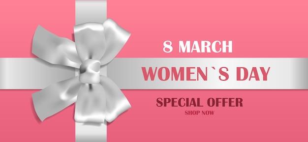 Ozdobna srebrna kokarda ze wstążką dzień kobiet 8 marca wyprzedaż oferta specjalna koncepcja kartka z pozdrowieniami plakat lub ilustracja pozioma ulotki