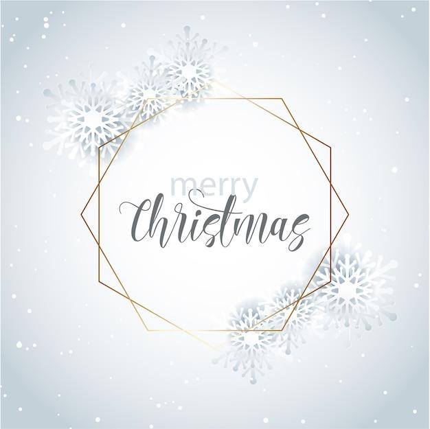 Ozdobna świąteczna kartka okolicznościowa z złotą ramą i wzorem płatka śniegu