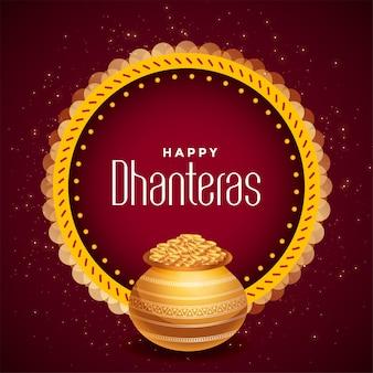 Ozdobna szczęśliwa karta festiwalu dhanteras ze złotym garnkiem