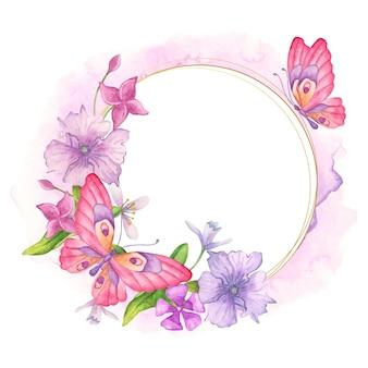 Ozdobna urocza akwarelowa kwiecista ramka z różowym motylem
