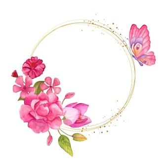 Ozdobna urocza akwarelowa kwiecista ramka z różowymi kwiatami i motylem