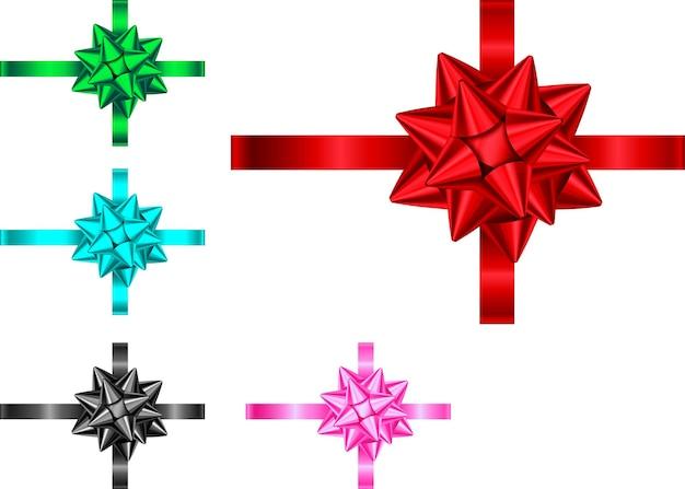 Ozdobna wstążka i kokarda na pudełko na białym tle. dekoracja świąteczna niebieski, czerwony, zielony, różowy, czarny. wektor zestaw elementów wystroju na baner, kartkę z życzeniami, plakat.